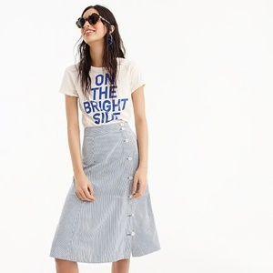 J. Crew Side-button Skirt Tahlia Stripe